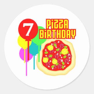 födelsedag för 7:efödelsedagPizza Runt Klistermärke