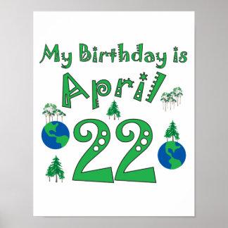 Födelsedag för April 22nd jorddag Poster