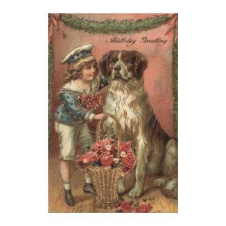 Födelsedag för basket för pojkehund rosa canvastryck