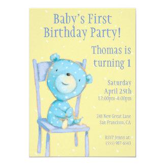 Födelsedag för blåttCalicobjörn 12,7 X 17,8 Cm Inbjudningskort