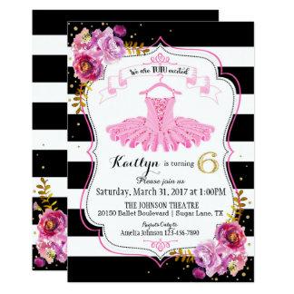 Födelsedag för blom- gnistra för TutuBallerina 12,7 X 17,8 Cm Inbjudningskort
