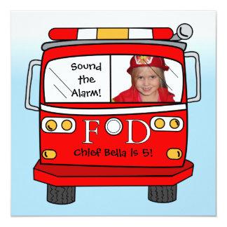 Födelsedag för brandman för brandmanräddingfoto fyrkantigt 13,3 cm inbjudningskort