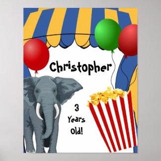 Födelsedag för cirkuskarnevalanpassningsbar posters