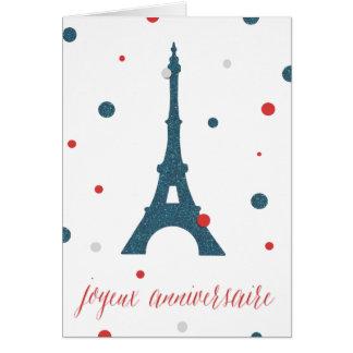 Födelsedag för Eiffel tornfransk Hälsningskort