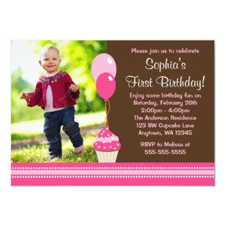 Födelsedag för foto för muffinballonger brun rosa 12,7 x 17,8 cm inbjudningskort