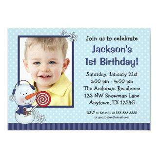 Födelsedag för foto för snögubbeblåttvinter 12,7 x 17,8 cm inbjudningskort