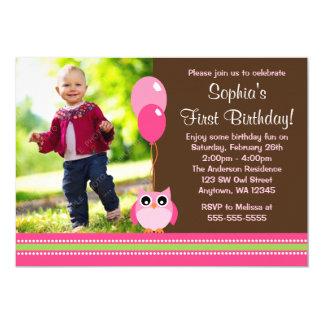 Födelsedag för foto för ugglaballonger brun rosa 12,7 x 17,8 cm inbjudningskort
