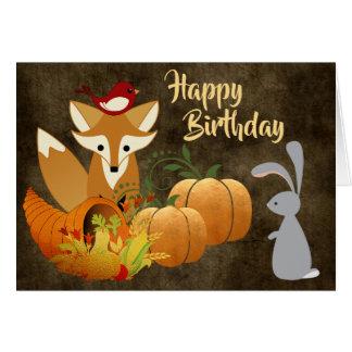 Födelsedag för höst för gulliga rävskogsmarkdjur hälsningskort