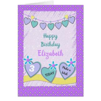 Födelsedag för liten flicka för personlignamnålder hälsningskort