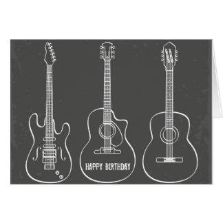 Födelsedag för musik för grunge för gitarrtrio hälsningskort