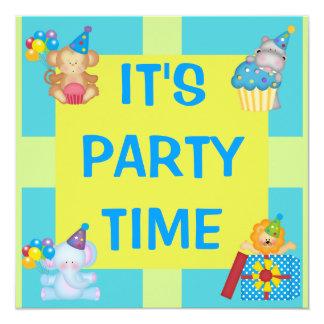 Födelsedag för partydjur- & Shapeöverrrakning Fyrkantigt 13,3 Cm Inbjudningskort