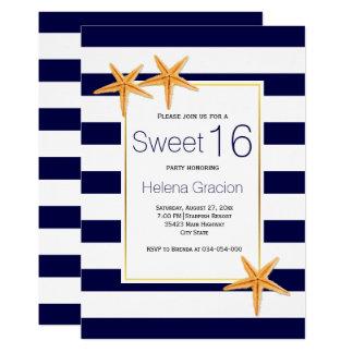 Födelsedag för sjöstjärna- och randstrandsweet 12,7 x 17,8 cm inbjudningskort