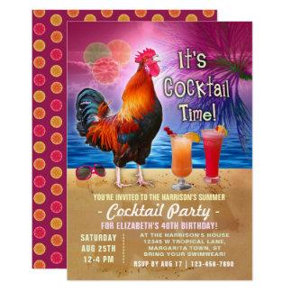 Födelsedag för tropisk tupp för cocktailparty 12,7 x 17,8 cm inbjudningskort