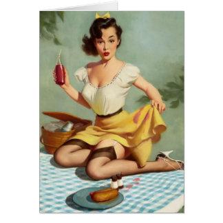 Födelsedag för vintagepicknickpinup OBS kort