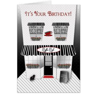 Födelsedag - fransk Cafe - svart/rött/vit Hälsningskort