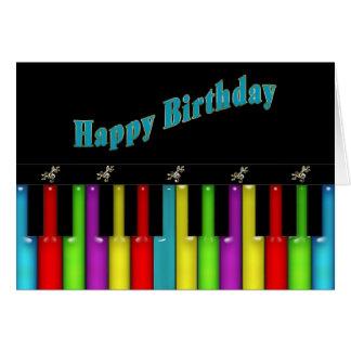 Födelsedag - musikal - färgrikt tangentbord hälsningskort
