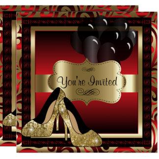 Födelsedag | röd & guld- högklackarinbjudan fyrkantigt 13,3 cm inbjudningskort