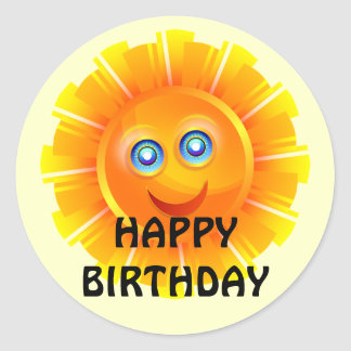 FÖDELSEDAG: Solskenfödelsedagklistermärke Runt Klistermärke