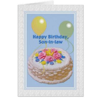 Födelsedag, Son-i-lag, tårta och ballonger Hälsningskort
