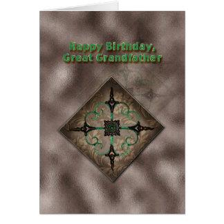 Födelsedag stor- farfar, abstrakt konst för brunt hälsningskort