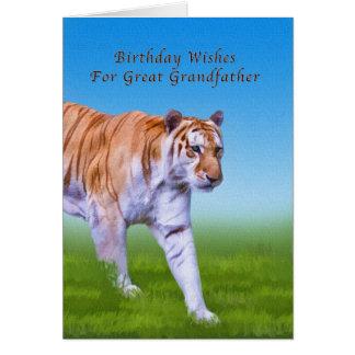 Födelsedag stor- farfar, gå för tiger hälsningskort