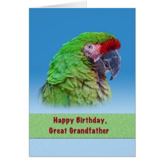 Födelsedag stor- farfar, grön papegoja hälsningskort