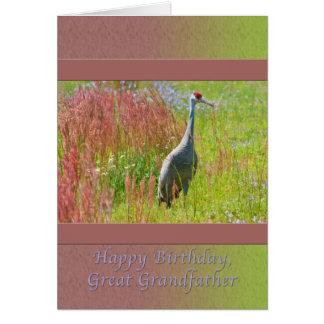 Födelsedag stor- farfar, Sandhill kranfågel Hälsningskort