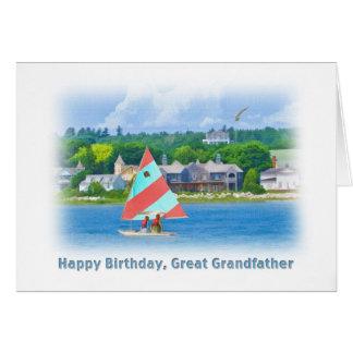 Födelsedag stor- farfar, segelbåt på en sjö, hälsningskort