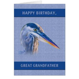Födelsedag stor- farfar, underbar blåttHeron Hälsningskort
