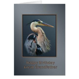 Födelsedag stor- farfar, underbar blåttHeronfågel Hälsningskort