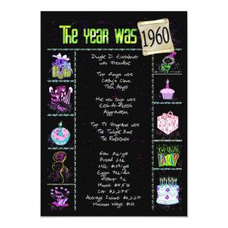 Födelsedagårsinbjudan 1960 12,7 x 17,8 cm inbjudningskort