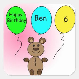 Födelsedagballongbjörn Fyrkantigt Klistermärke