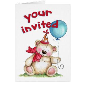 Födelsedagbjörn - inbjudan OBS kort