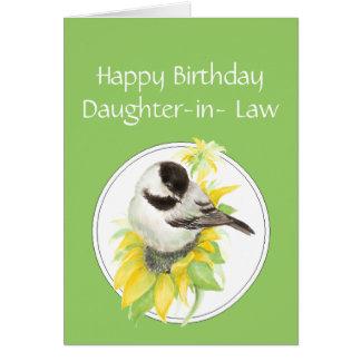 Födelsedagdotter i fågel för lagChickadeesolros Hälsningskort