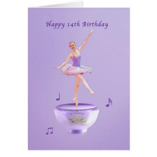 Födelsedagen 14th, musik boxas ballerinaen hälsnings kort