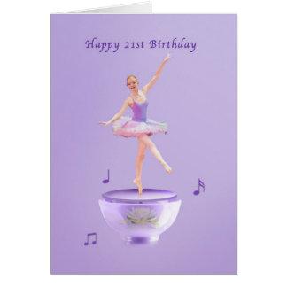 Födelsedagen 21st, musik boxas ballerinaen hälsningskort