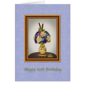 Födelsedagen 85., blommar i gult vaskort hälsningskort