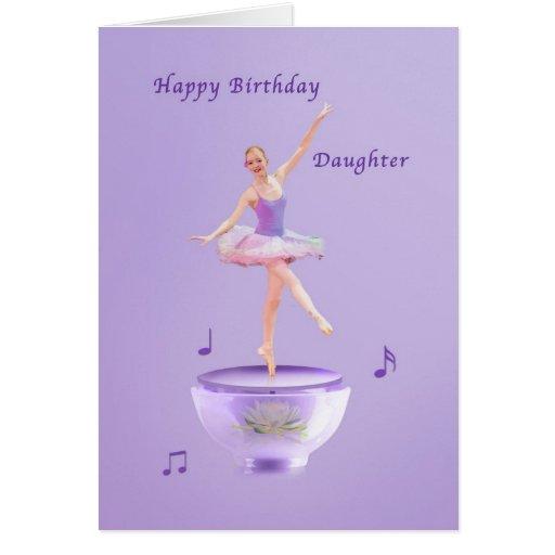 Födelsedagen dottern, musik boxas ballerinaen kort