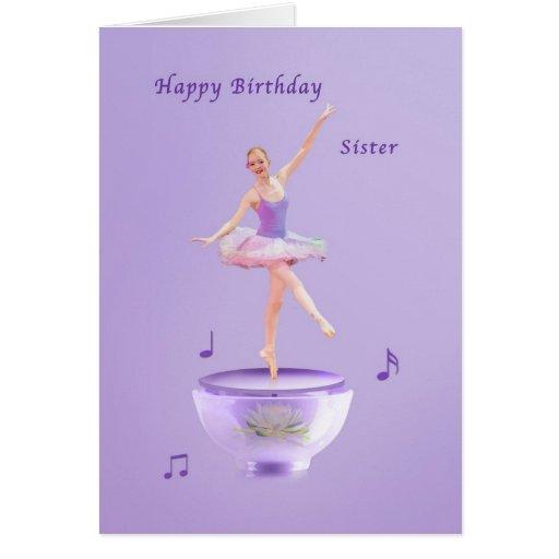 Födelsedagen systern, musik boxas ballerinaen hälsningskort