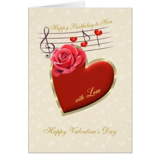 Födelsedagen valentin dag - musik, hjärta och steg hälsnings kort
