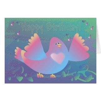 Födelsedagfågelhjärta Kort
