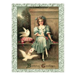 Födelsedaghälsningar flicka & duvor vykort