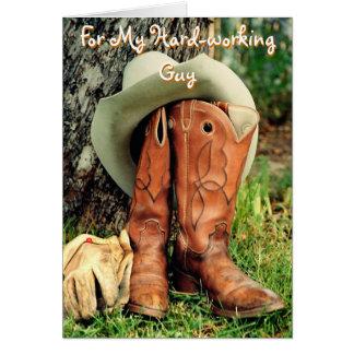 Födelsedaghälsningkort: Cowboyhatt och kängor Hälsningskort
