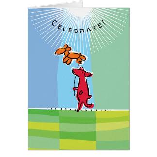 Födelsedaghund med ballongdjur hälsningskort