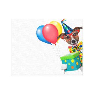 Födelsedaghund med ballongtien och exponeringsglas canvastryck