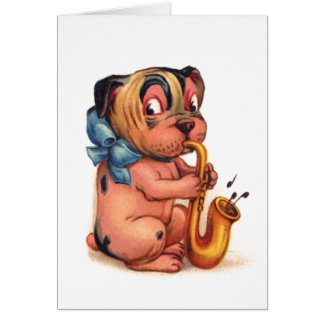 Födelsedaghund med saxofonen hälsningskort