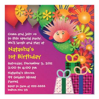 Födelsedaginbjudan: 015 Porcupine & blommor Fyrkantigt 13,3 Cm Inbjudningskort