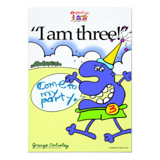 """Födelsedaginbjudan """"mig förmiddag tre!"""", Kom till 12,7 X 17,8 Cm Inbjudningskort"""