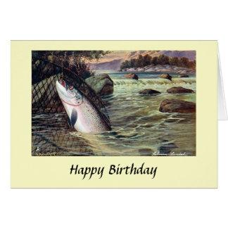 Födelsedagkort - fiske - lax hälsningskort