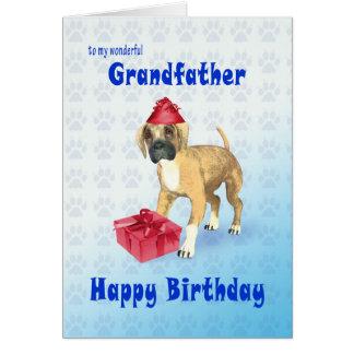 Födelsedagkort för en farfar med en valp hälsningskort